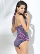 Halter Push Up Abstract Printed One-Pieces&Tankini