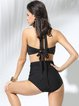 Black Ruched Halter Push Up One-Pieces&Tankini