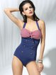 Blue Halter Button Color Block One-Pieces&Tankini
