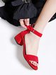 Red Summer Suede Chunky Heel Sandals
