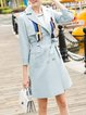 Long Sleeve A-line Simple Trench Coat with Belt