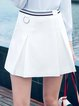 White Solid Folds A-line Simple Mini Skirt