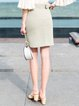 Green Simple Slit H-line Mini Skirt with Belt