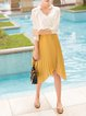 Yellow Solid A-line Girly Asymmetric Pleated Midi Skirt