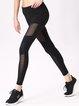 Black Nylon Mesh Paneled Quick Dry Leggings