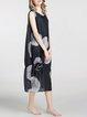 Black Abstract Silk Casual Midi Dress