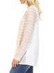 Beige Paneled Polyester Stripes Cardigan