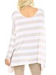 Draped Long Sleeve Polyester Stripes Reversible Casual Tunic