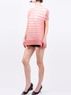 Casual Short Sleeve Polyester Stripes Tunic