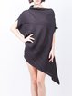 Black Asymmetrical Bateau/boat Neck Elegant Mini Dress