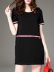 Black Casual Crew Neck Shift Plain Mini Dress