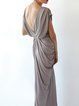 Brown Elegant Gathered Sheath Maxi Dress