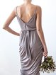 Brown Draped Sheath Spaghetti Maxi Dress