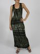 Dark Green Abstract Casual Maxi Dress