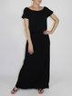 Casual Plain Short Sleeve Modal H-line Maxi Dress