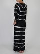 Stripes Casual Crew Neck Long Sleeve Maxi Dress