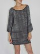 Gray Modal Printed Shift Casual Mini Dress
