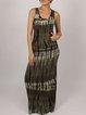 Dark Green Sleeveless Abstract Printed Maxi Dress