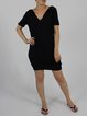 Black Plain Sheath Short Sleeve V Neck Mini Dress