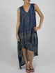 Abstract V Neck Sleeveless Asymmetric Cupro Maxi Dress
