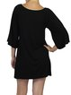 Black Half Sleeve Modal V Neck Mini Dress