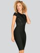 Black Plain Bandage Short Sleeve Cowl Neck Midi Dress