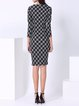 Black Color-block Elegant Cotton-blend Midi Dress