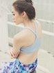 Blue Polyester Breathable Sports Bra (Sportswear for Outdoor)