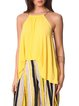 Yellow Casual Plain Asymmetric Tanks And Cami