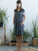 Deep Gray Short Sleeve Plain Cotton Midi Dress