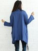 Dark Blue Asymmetrical Plain Casual Coat
