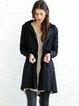 Black Casual Hoodie Pockets Plain Coat