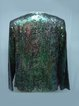 Dark Green Long Sleeve Glitter-finished Crew Neck Abstract Cropped Jacket