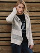 Beige H-line Casual Knitted Stripes Cardigan