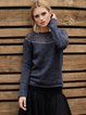Dark Blue Knitted Crew Neck Paneled Casual Sweater