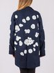 Navy Blue Long Sleeve Stand Collar H-line Floral Parka