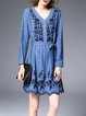 Blue Floral Elegant Mini Dress