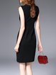 Black Sleeveless Plain V Neck Beaded Mini Dress