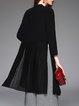 Black H-line Chiffon Long Sleeve Slit Coat