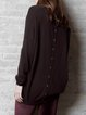 Brown Plain Crew Neck Casual Cashmere Sweater