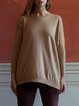 Camel Plain Casual Cashmere Crew Neck Sweater