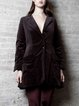 Brown Elegant A-line Gathered Lapel Coat