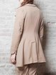 Camel Gathered Long Sleeve A-line Lapel Coat