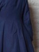 Navy Blue Plain Elegant Lapel Gathered Coat