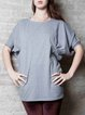 Gray Short Sleeve Crew Neck Plain Cotton Blouse