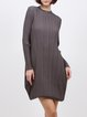 Coffee Simple Stand Collar Ribbed Mini Dress