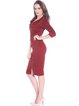 Burgundy Elegant Sheath Midi Dress