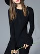 Black Long Sleeve Crew Neck Knitted Sweater