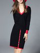 Color-block Elegant Two Piece Long Sleeve Crew Neck Midi Dress