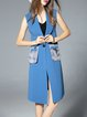 Blue Lapel H-line Polyester Sleeveless Vests